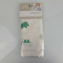 Aden + Anais Green Elephant Issie Baby Blanket White Satin Trim Edge Lov... - $79.19