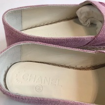 100% Authentic NEW Chanel Pink Sequin Slip On CC Logo Espadrilles Shoes Flats 37 image 8