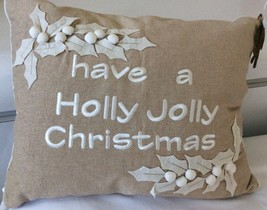 Christmas Decorative Embroidered Pillow . Beige and White. Poinsettias - $39.50