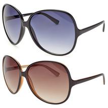 Large Oversized Womens Retro Vintage Style Round Sunglasses Black Brown - $6.99