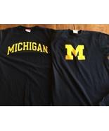 Michigan University CHAMPION AUTHENTIC ATHLETIC APPAREL - NAVY  T-SHIRTS... - $21.37