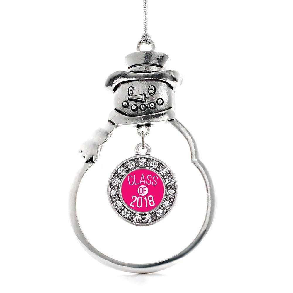 Primary image for Inspired Silver Hot Pink Class of 2018 Circle Snowman Holiday Christmas Tree Orn