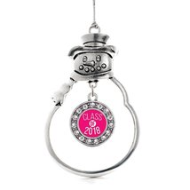 Inspired Silver Hot Pink Class of 2018 Circle Snowman Holiday Christmas ... - $14.69