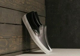 NEW IN BOX VANS Classic Slip On Shoes 2 Tone Black Metallic Silver sz Womens 6.5 - $57.92