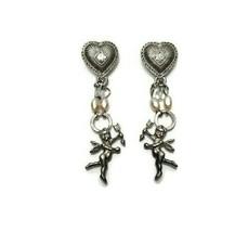 Vintage Silver Tone Drop Dangle Cupid Cherub Earrings Rhinestones Faux P... - $16.82