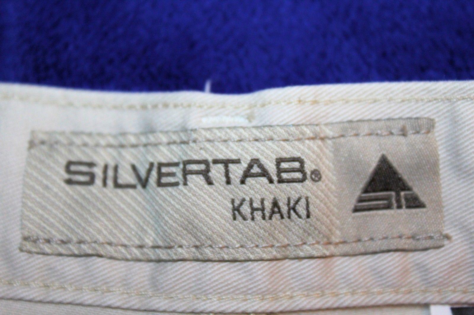 Vintage LEVI'S SILVERTAB Men's 34 x 34 Khaki Flat Front 6 Pocket Pants Chinos