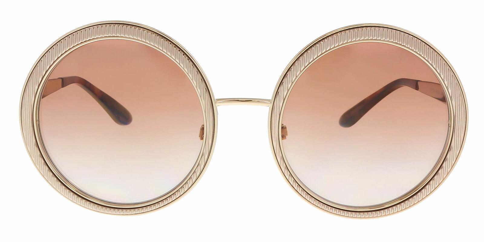NEW  Dolce & Gabbana Round Sunglasses DG 2179 02/13 Gold/Brown Gradient Women