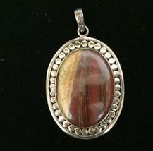 Jasper pendant necklace bezel set large vintage sterling silver Beaded Oval - $63.47