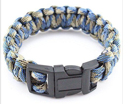BlueGrey Parachute Cord Emergency Survival Paracord Bracelet With Plastic Buckle