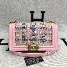 100% AUTH CHANEL Pink Tweed Leather Limited Edition Medium Boy Flap Bag GHW