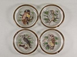 Viking Art Glass Owl Drink Coasters or Decorative Wildlife Ashtrays with... - $44.00