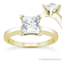 Square Brilliant Cut Moissanite 14k Yellow Gold 4Prong Solitaire Engagement Ring - $340.00+