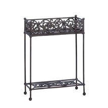 Plant Stand Outdoor, Iron Two-tier Indoor Garden Modern Decorative Plant... - $133.19