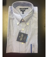 Men's Long Sleeve Blue Striped Classic Fit Easy Care Shirt 15-1/2 - $12.00