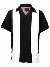 Men's Retro Classic Two Tone Guayabera Black/White Bowling Dress Shirt w/ Defect