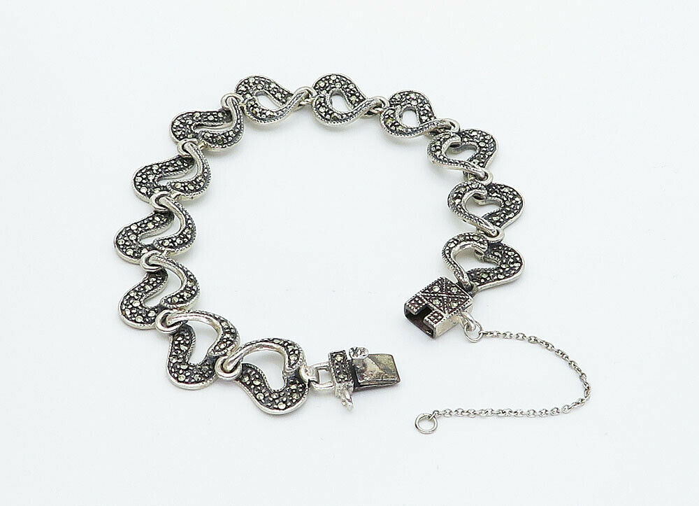 925 Sterling Silver - Vintage Marcasite Love Heart Linked Chain Bracelet - B5943