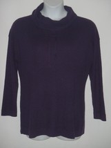 Talbots Woman Active Purple Lambswool Waffle Knit Top Sweatshirt 1X NEW - $46.46