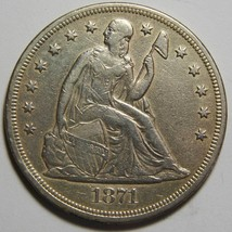 1871 Seated Liberty Silver Dollar $1 Coin Lot# MZ 4410 - $604.71