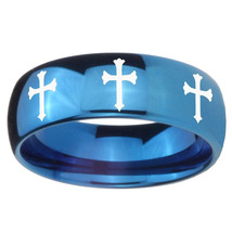 8mm Multiple Christian Cross Dome Blue Tungsten Carbide Anniversary Ring - $39.99