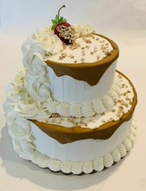Fake Cake Two Tier Vanilla Carmel Drizzle Fake Cake Decoration Prop - $69.29