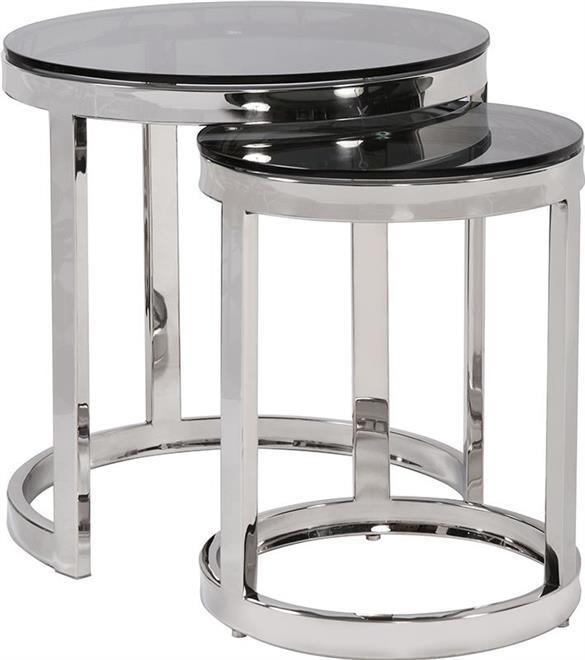 Nesting Tables HOWARD ELLIOTT Round Smoke Black Polished - $2,079.00