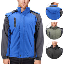 Men's Quilted Lined Removable Hood Two Toned Zipper Puffer Lightweight Jacket
