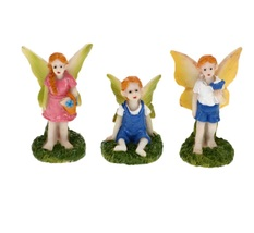 "Fairy Figurines, set of 3, Fairy Garden Decor, Fairies Craft, Plastic 1-1.5"""