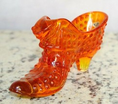 """Fenton Orange Hobnail Cat Head Shoe With Sticker 6"""" inches long  - $24.25"""