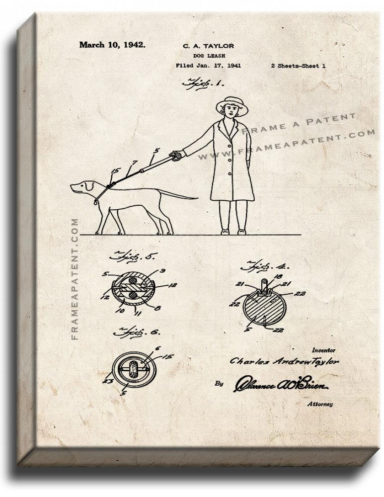 Primary image for Dog Leash Patent Print Old Look on Canvas