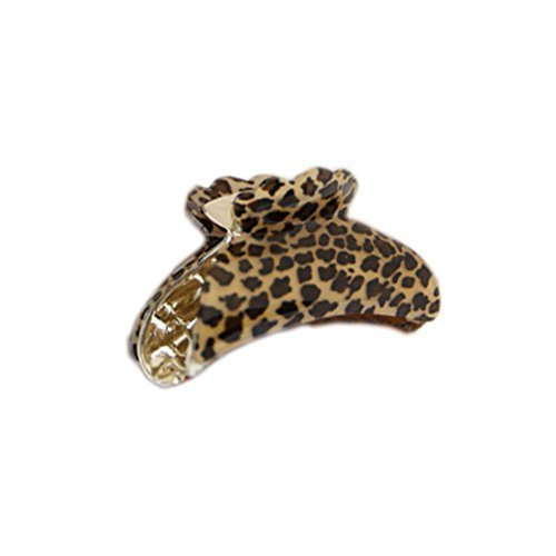 [Set Of 3] Fashion Leopard Large Jaw Clip Hair Styling Claws, 3.7 inches, BROWN