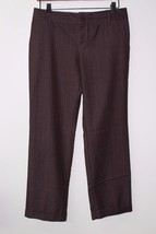 W10893 Womens OLD NAVY stretch brown pinstripe cuffed TROUSERS, size 4 r... - $14.50