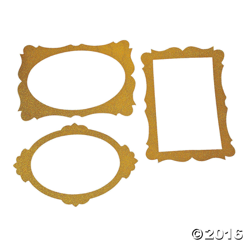 "Gold Glitter Picture Frame Cutouts  (3 Piece Set) 16"" x 23"""