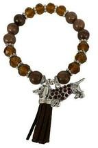 Dachshund Weenie Dog Brown Glass & Stone Beaded Tassel Stretch Bracelet Jewelry - $15.83