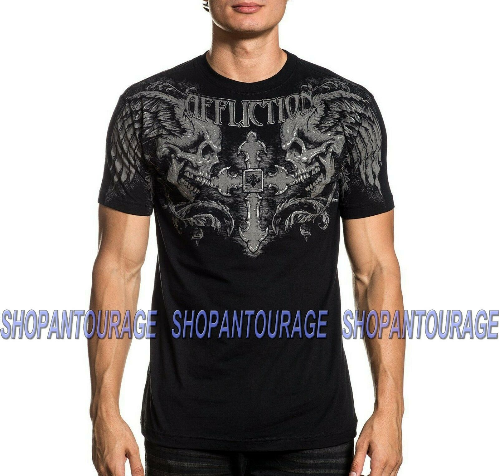Primary image for Affliction Winged Up A20629 New Short Sleeve Fashion Graphic T-shirt For Men
