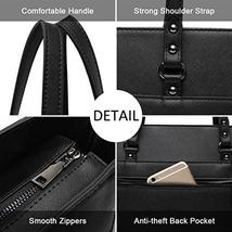 15.6 Inch Briefcase for Women, Laptop Tote Bag Bottom with 4 Metal Feet, Multi F image 3