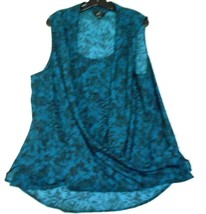 GNW  Teal Black 2X Scoop Neck Draped Front  Sleeveless 3 side slit Polye... - $18.50