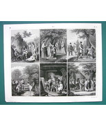PEOPLE Tribes Costume Gauls Germans Rites - 1844 Antique Print Engraving - $9.72