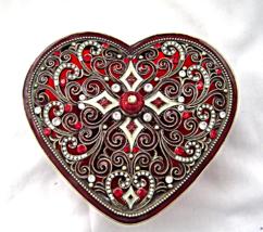 Red Heart Potpourri Trinket Dish Metal Cut Lid Glass Bowl - $24.99
