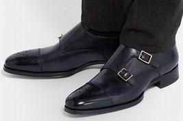 Handstitch men double monk dress shoes, Men formal shoes, Men black dress shoes - $169.99
