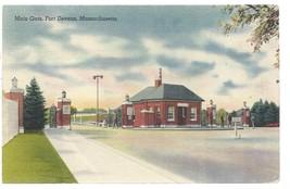Fort Devens Massachusetts MA Main Gate Postcard Linen Colourpicture - $3.34