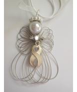 White Awareness Ribbon Angel Necklace Handmade - $11.00