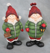 Set of 2 Boy and Girl Kids in Puffy Winter Coats Poly Resin Figurines 6.... - $18.80