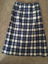 Vintage 70's Women's Pendleton Wool Blue Checkered Skirt, Size 10, USA Made - $29.99