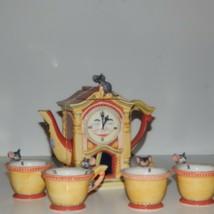 Dept 56 Storybook Series Hickory Dickory Dock Moon Face Clock Tea Set Mice - $53.22