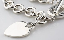 Tiffany & Co. PLATA DE LEY vacío Corazón Placa Collar Botón Alargado 39.4cm RET - $356.39
