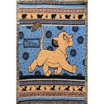 Walt Disney Lion King Simba Tapestry Fringe Blanket 90's Vintage - £32.19 GBP