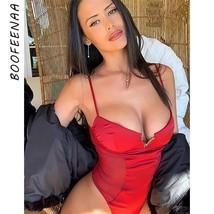 BOOFEENAA Sexy Deep V Neck Satin Mesh Bodysuit Women Tank Top Summer Bodycon Rom - $47.36