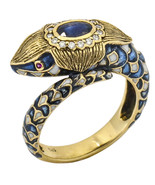 Antique Snake Ring with a Sapphire Diamonds and Enamel in 14k Yellow Gold - $2,793.00