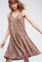 Nwt $138 Anthropologie Westwater Knit Dress By Maeve Comfy A-LINE Brown Motif - $42.00