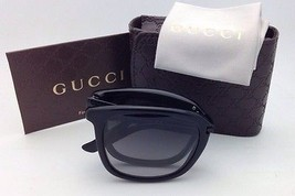 New GUCCI Folding Sunglasses GG 1050/S 0VNVK 52-21 Black Frames w/ Gray Gradient